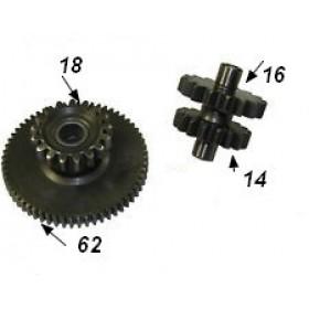 Pinion reductie set 18/62+14/16 dinti ptr el.motor cu 9 dinti motor CG